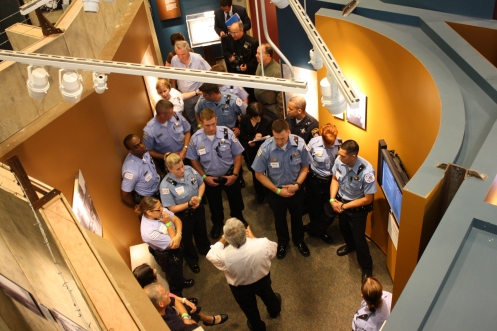 On Thursday, the police recruits toured the museum.