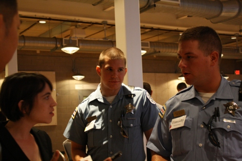 Sofia interviews police officers in training for our article.