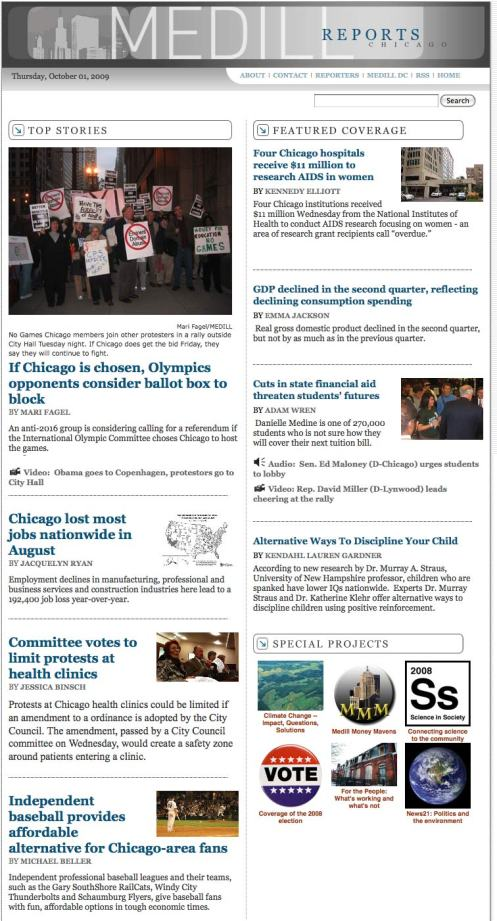 The homepage of Medill Reports - Chicago on Sept 30.
