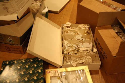 Boxes of ornaments